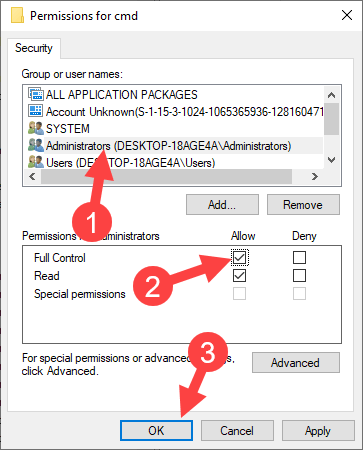 Add open command prompt here option win 10 - give full control