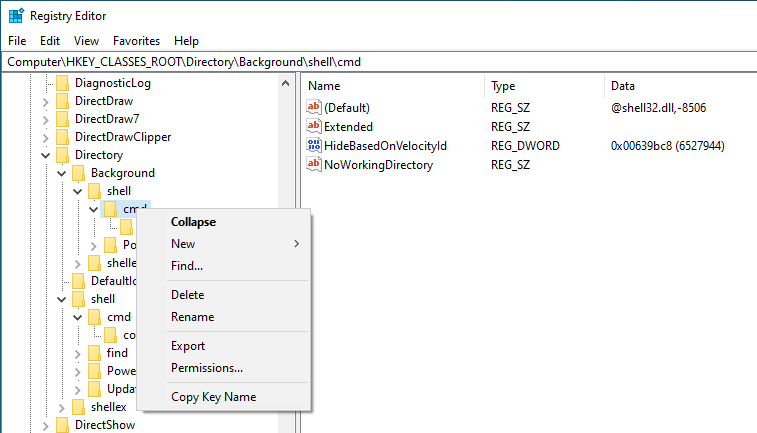 Add open command prompt here option win 10 - select permissions