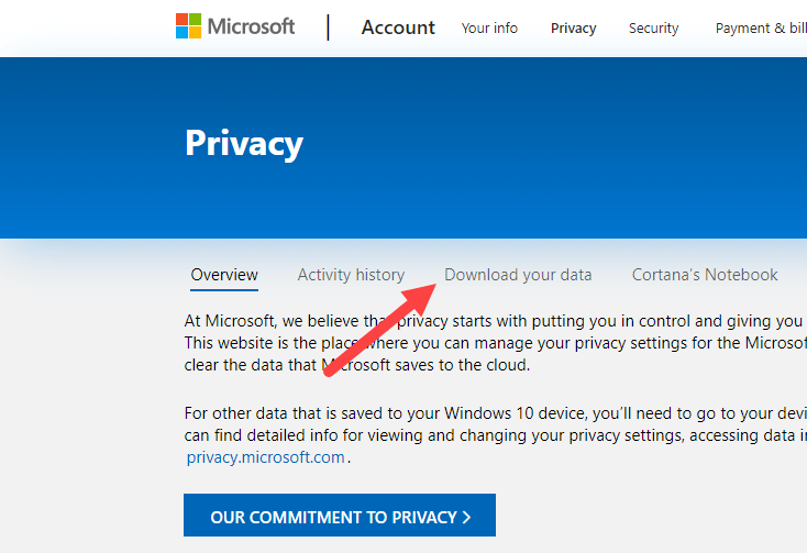 Download perosnal data from microsoft - click download my data link