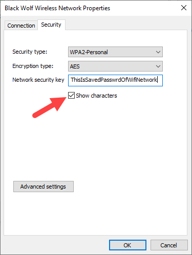 View saved wi-fi password windows - check show characters option