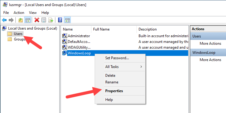 Win 10 force user to change password - click properties