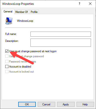 Win 10 force user to change password - select force change password option