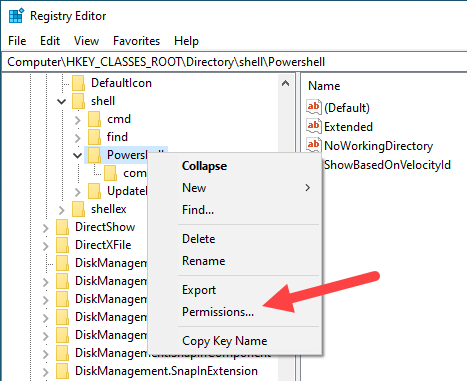 Win10 remove powershell from right-click - select permissions