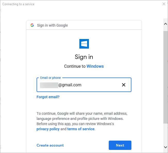 Connect gmail in win 10 mail app - enter email address