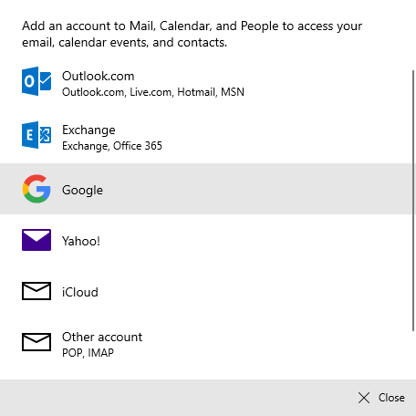 Connect gmail in win 10 mail app - select google