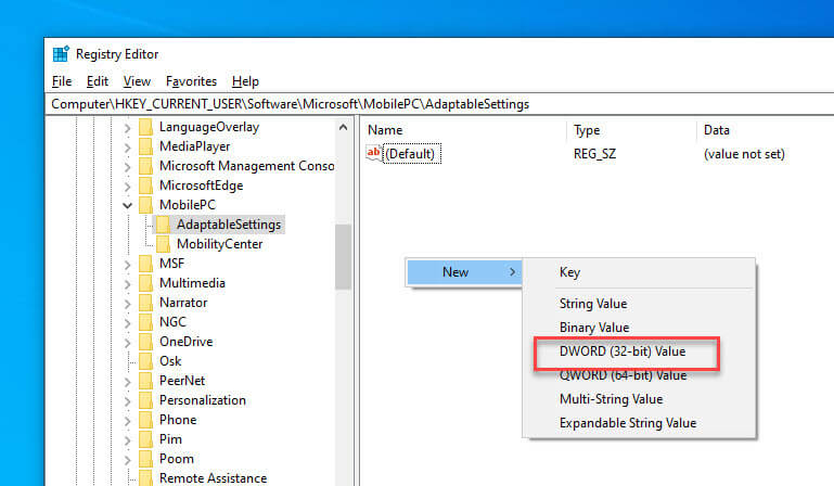 Enable-mobility-center-new-dword-value