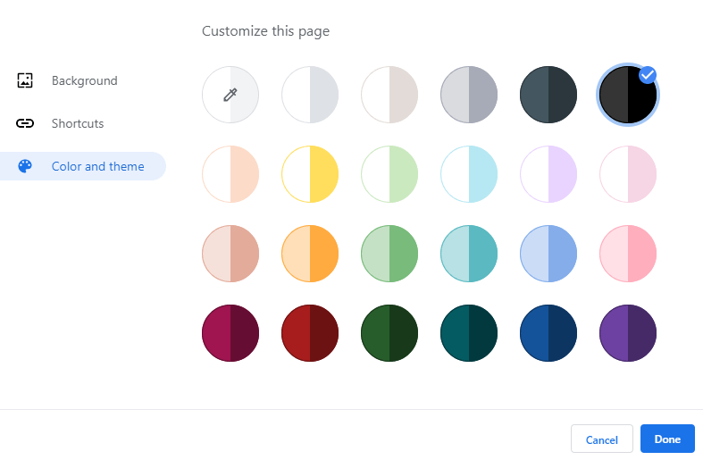 Make-google-chrome-theme-select-color-scheme