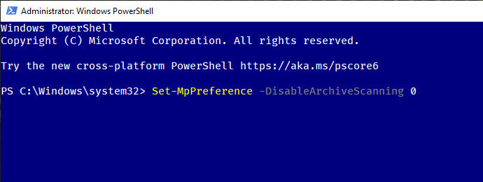 Windows-defender-archive-scan-execute-powershell-command