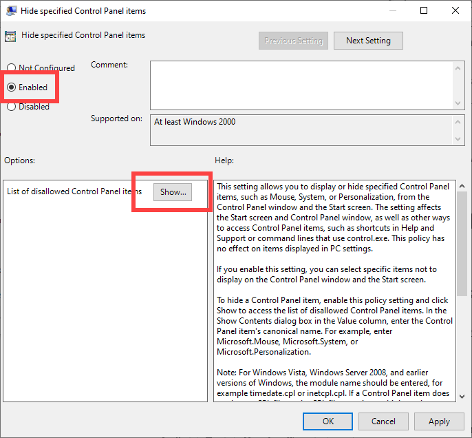 Hide-control-panel-items-gpo-windows-enable-policy