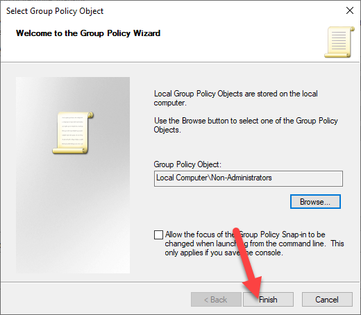 Non-administrator-group-policy-windows-finish-wizard