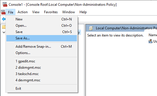 Non-administrator-group-policy-windows-select-save-as