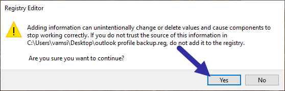 Backup-outlook-profile-with-email-accounts-click-yes