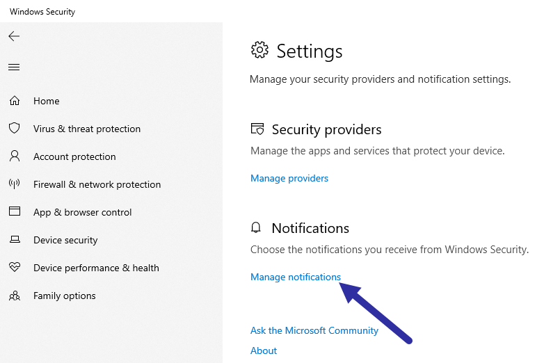 Disable-windows-defender-notifications-click-notifications-link