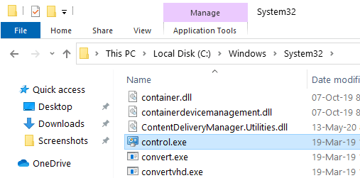 Windows 10 control panel - file explorer
