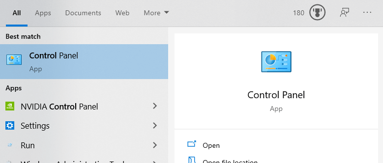 Windows 10 control panel - start menu