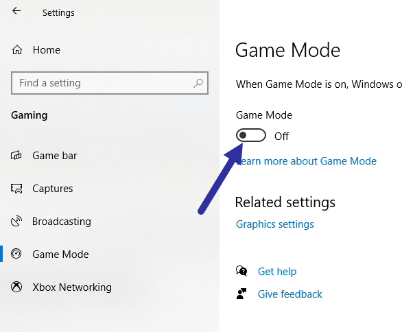 Windows 10 game mode - disable