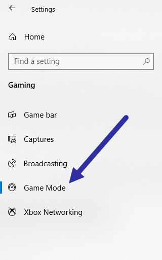 Windows 10 game mode - go to page