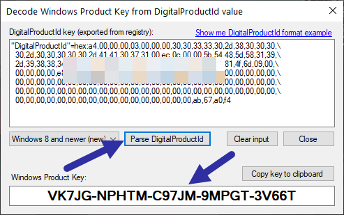 Windows 10 product key in registry - convert registry hex to string text