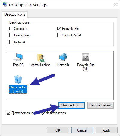 Windows 10 recycle bin - select recycle bin empty icon-min
