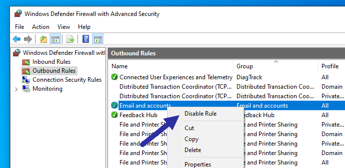 Windows firewall - disable rule