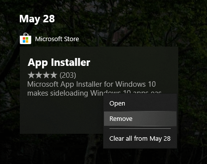 Clear windows 10 timeline activity - remove