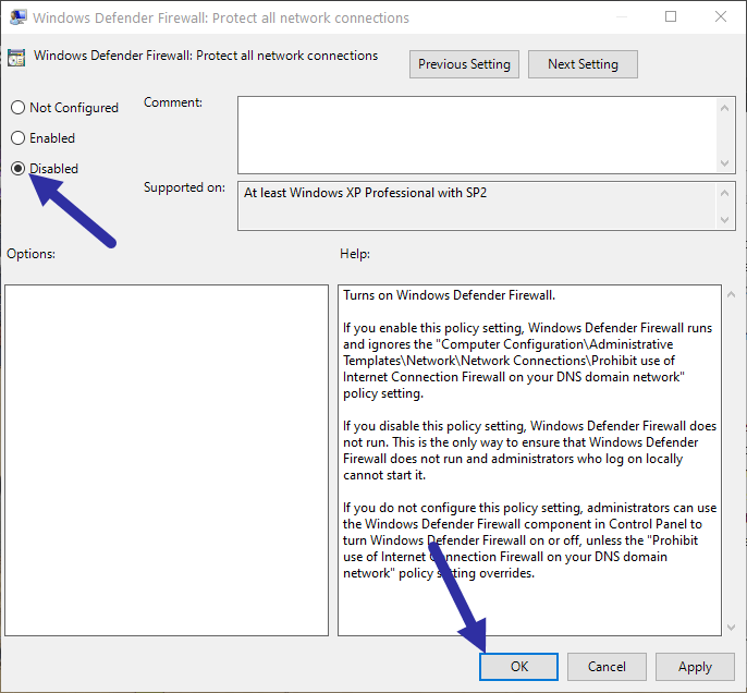 Disable windows firewall - domain profile policy disable
