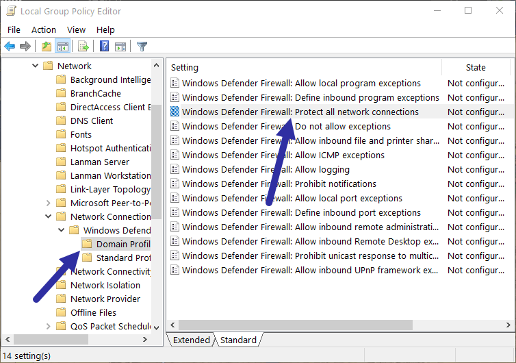 Disable windows firewall - domain profile policy