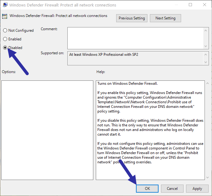 Disable windows firewall - standard profile policy disable