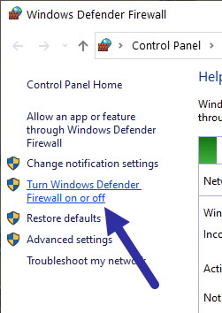 Disable windows firewall - turn off link
