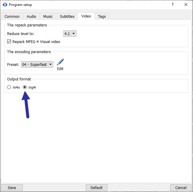 Set output format to mp4 in mkv3mp4-min