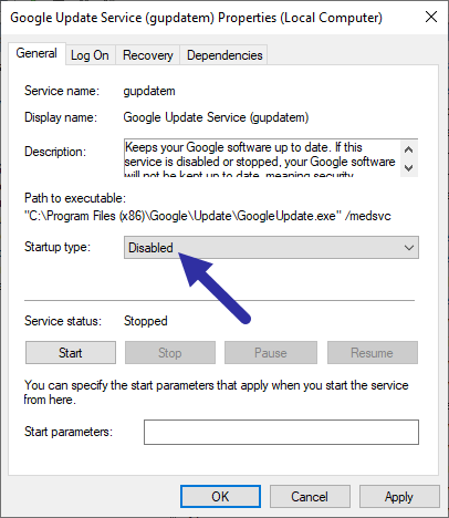 Disable-gupdatem-service-to-disable-chrome-auto-update-270920
