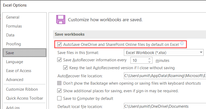 turn on autosave in excel