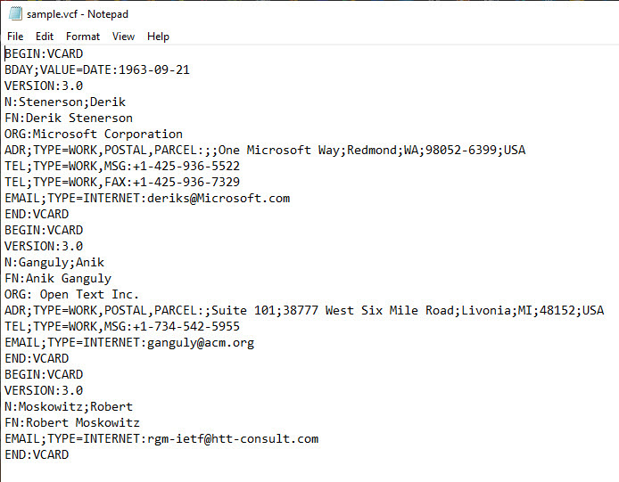 open vcf file in Windows notepad