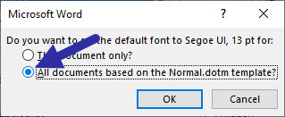 apply default to all documents based on this Word template