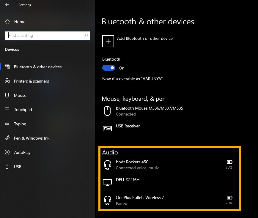 connected Bluetooth devices in Windows 10