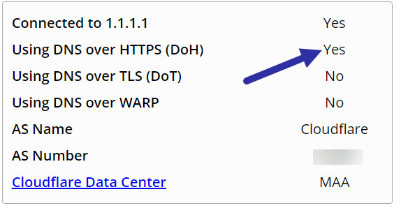 dns over https working in Windows 11