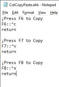 assign cut, copy, and paste shortcuts to function keys