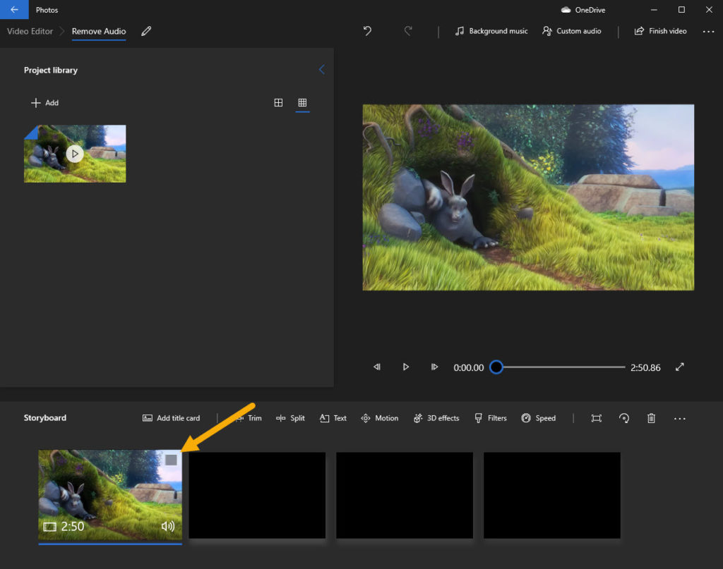 drag and drop video from project library to storyboard