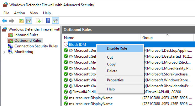 disable firewall rule