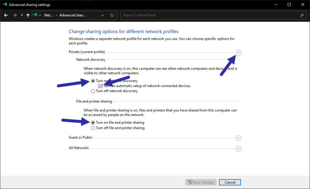 enabled sharing in windows