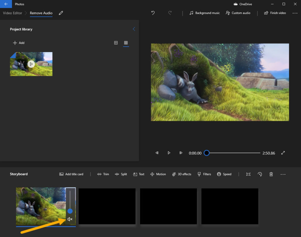 mute video added to storyboard