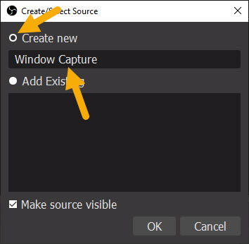 create new source in OBS