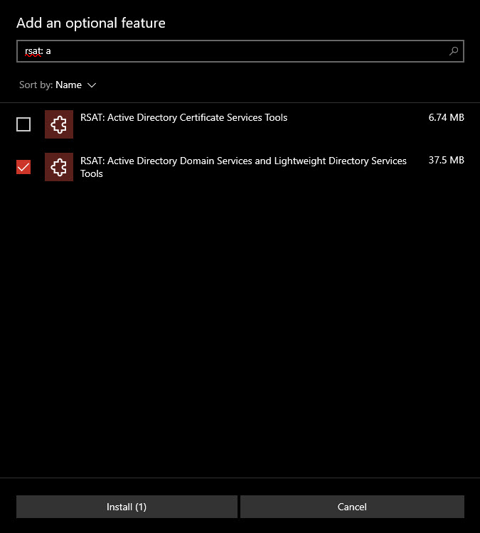 install rsat active directory feature to enable active directory in Windows 10