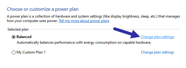click change plan settings link in control panel