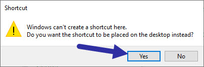 click yes to confirm shortcut creation