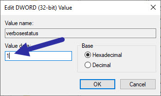 enable or turn on verbose boot mode in Windows 10