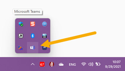 Microsoft Team running in the background with icon in taskbar