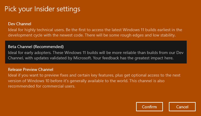 select Windows 11 insider preview channel