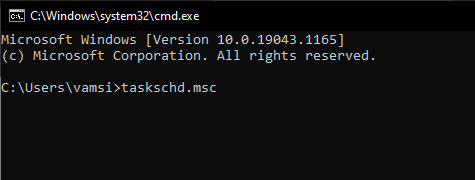 open task scheduler from command prompt