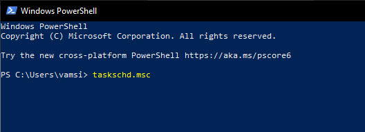 PowerShell command to open task scheduler